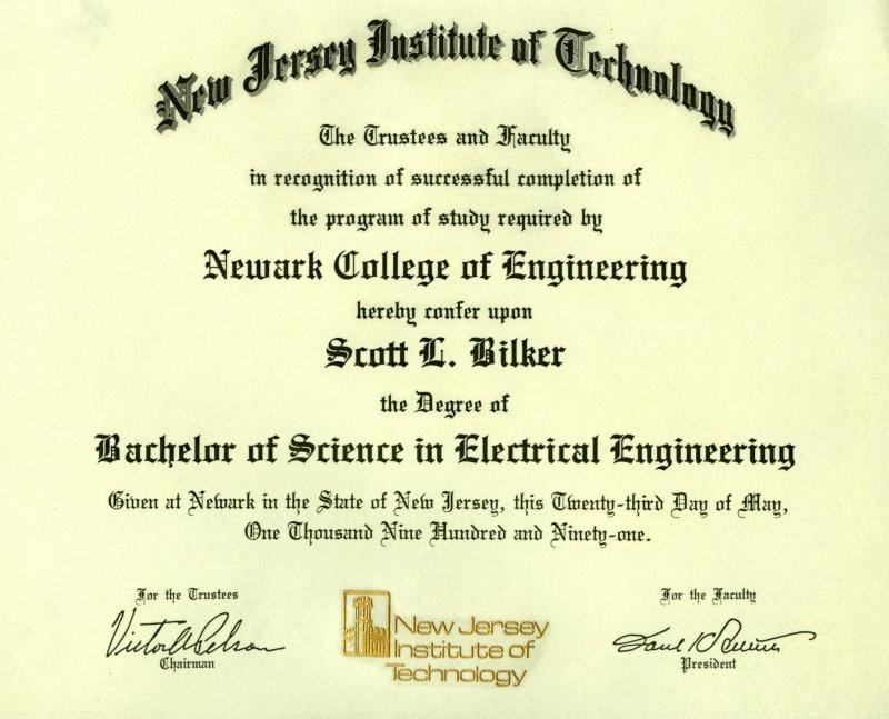 Njit Diploma Scott Bilker
